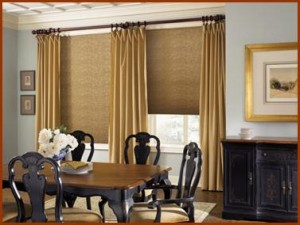 """Flowing drapery side panels over natural woven shades jpg"""