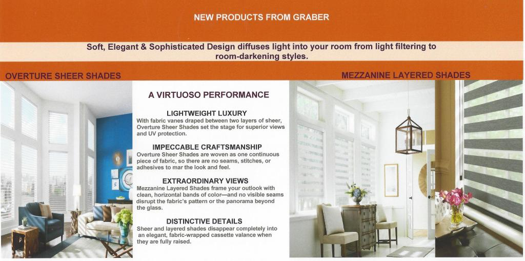 New by Graber-Overture Sheer Shades & Mezzanine Layered Shades-6-1-16
