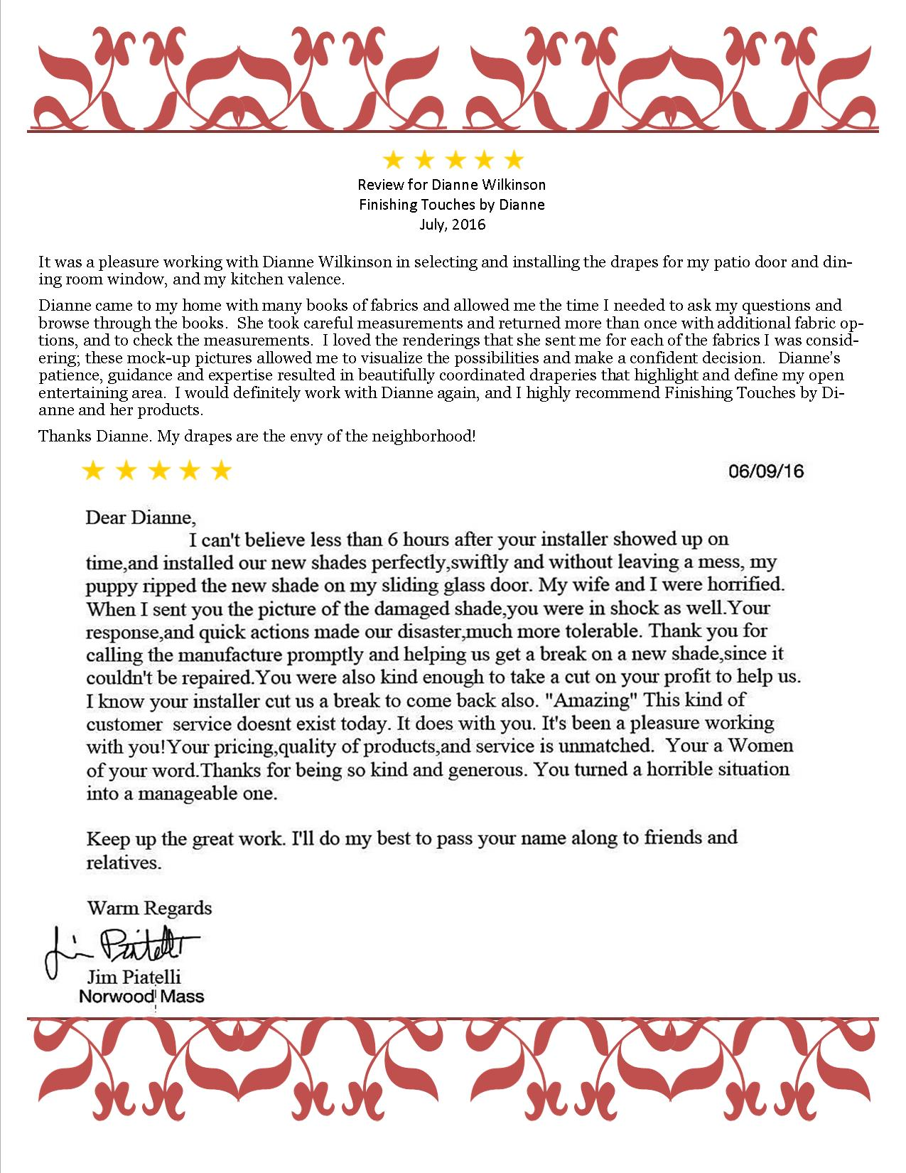 Hand written review letters-Norwood and Worcester 2016